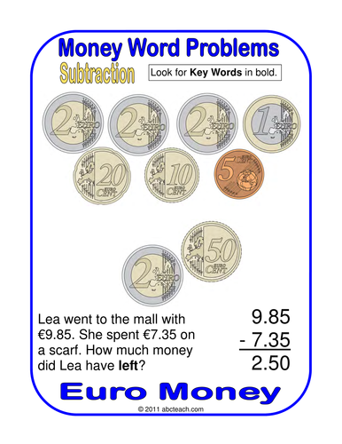 Euro Math Posters: Subtraction with Euro Coins (upper elem/middle)