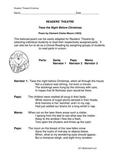 Readers' Theater: Twas' the Night Before Christmas (upper elem)