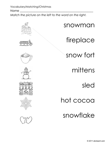 Matching: Winter Pictures to Words (preschool)