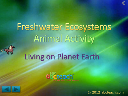 PowerPoint: Presentation with Audio: Ecosystems 5: Freshwater Ecosystems, Animal Activity  (upper elem/middle/high)
