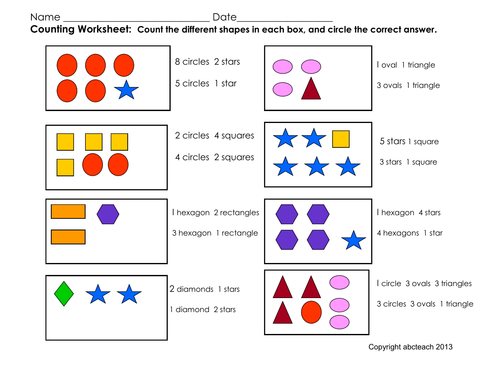 Worksheets For Pre Primary : Math counting activity addition pre k primary by