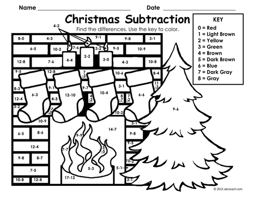 Christmas: Fireplace Scene Subtraction - Coloring Page