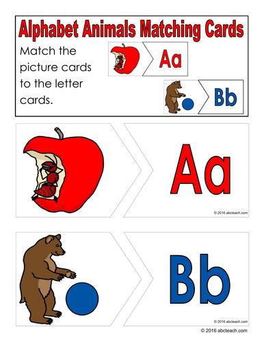 Alphabet Animals Puzzle Matching Cards