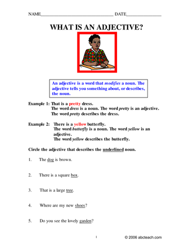 Worksheets: Adjectives (primary)