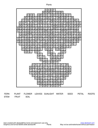 Word Search: Plants (elementary)
