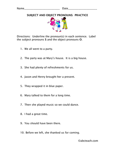 Worksheet: Subject & Object Pronouns (elem)