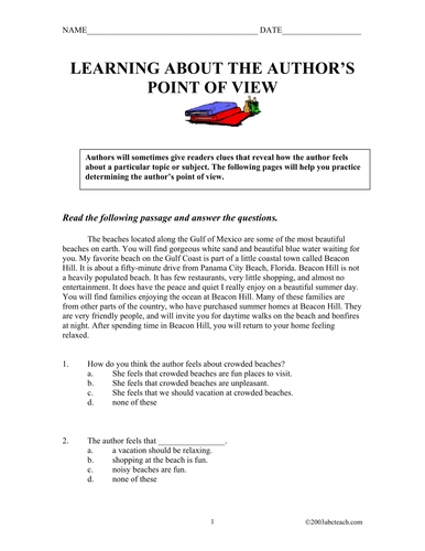 Worksheet: Point of View (upper elementary/middle)