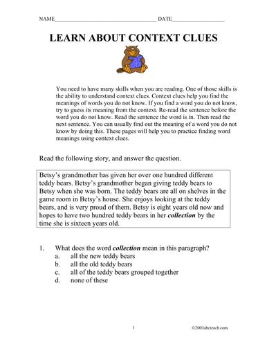 Context Clues Worksheets Pdf Sta 2e Sect 3 2 Context Clues