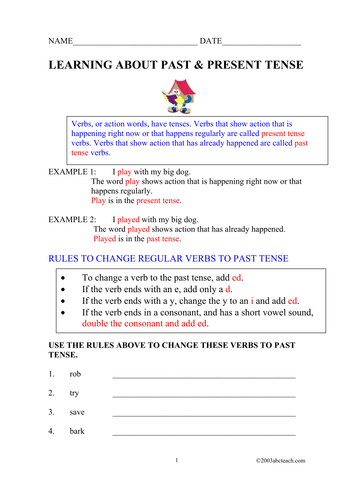Worksheet: Past and Present Tense Verbs (elem/upper elem)
