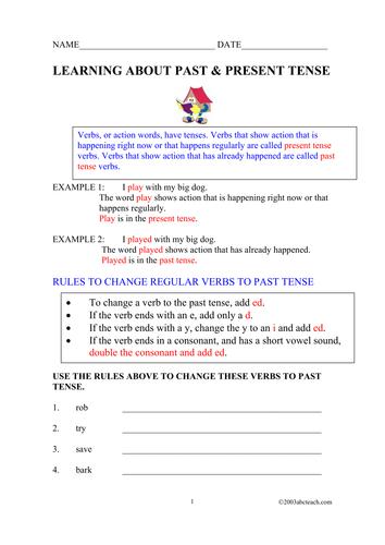 Worksheet: Past and Present Tense Verbs (elem/upper elem)