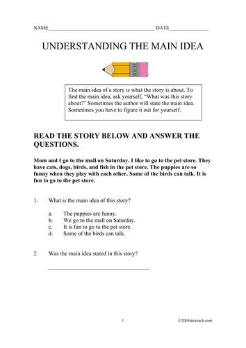 Worksheets: Finding the Main Idea (upper elem)