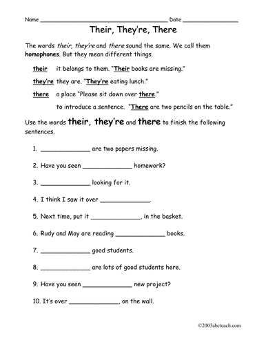 Worksheet There They 39 Re Their Elem By Abcteach