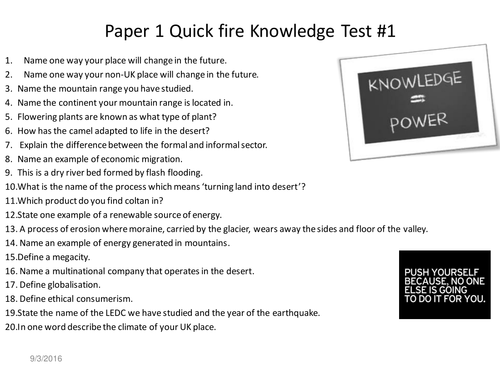 Geography Revision Knowledge Tests