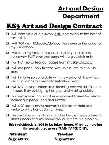 KS3 Sketchbook Contract Sheet