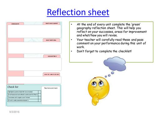 End of unit self assessment sheet