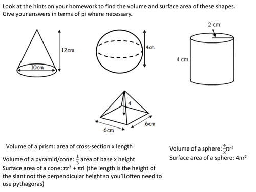 Volume and surface area of spheres, pyramids, cones and frustrums ...