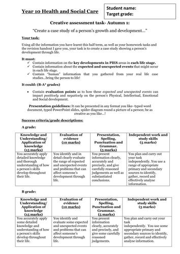 EdExcel GCSE Health & Social Care- Unit 1- Human Growth & Development- AFL assessment case study