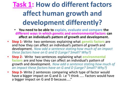 EdExcel GCSE Health & Social Care- Unit 1- Human Growth & Development- Revision lesson package