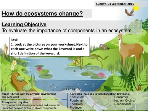 Ecosystems Balance / Interdependence of Components - AQA2016 Living World