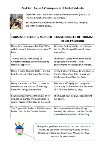 Card Sort: Why was Thomas Becket murdered?