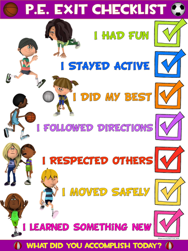 PE Poster: Physical Education Exit Checklist by ejpc2222 ...