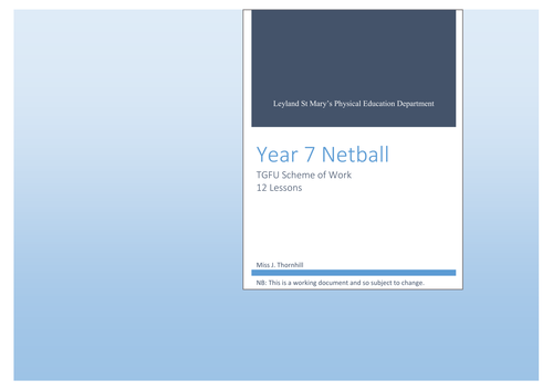 TGFU Netball Scheme of Work - Year 7