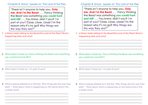 Lord of the Flies new GCSE English Literature AQA. Lesson8/Chpts 5-10: focus on Simon and the beast