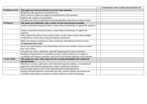 KS3 Reading and Writing assessment framework