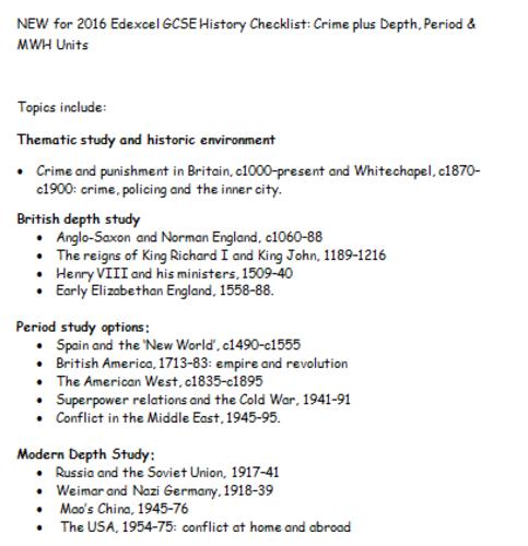 NEW for 2016 Edexcel GCSE History Checklist: Crime plus Depth, Period & MWH Units