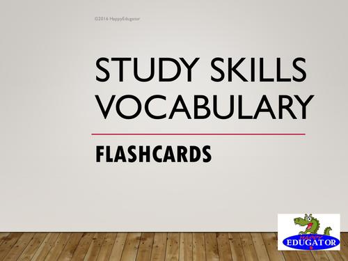 Study Skills Vocabulary Flash Cards PowerPoint
