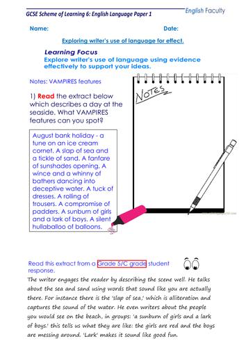 Exploring writer's language and effects AQA GCSE Language Paper 1