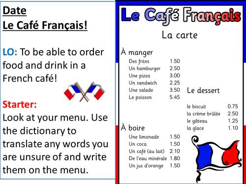 Lesson PowerPoint - Le Café Français Role-play