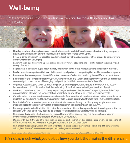 Reference card on well-being