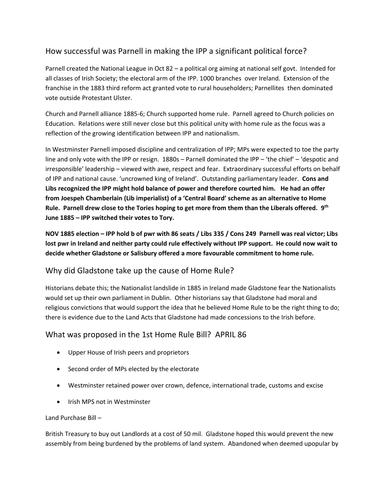 Ireland and the Union (Edexcel 2015 Paper 3 / Edexcel 2008 Unit 4)