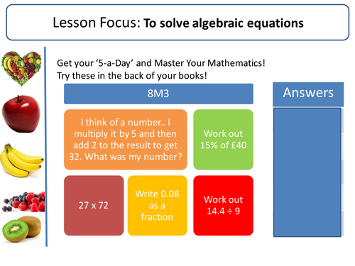 Solving equations! (Two step, brackets, fractions, unknown on both sides, set up and solve problems)