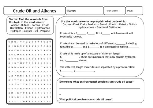 Amys Shop Teaching Resources TES – Hydrocarbon Worksheet