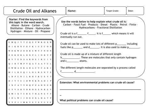 Crude Oil and Alkanes Worksheet
