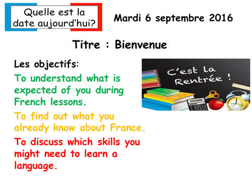 First lesson KS3 French