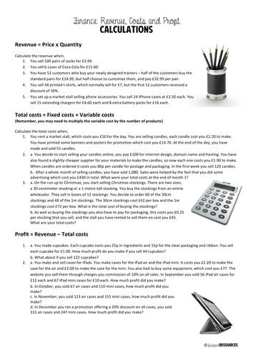 AQA - 3.1.1 - Revenue, costs and profits