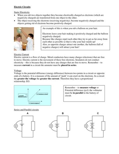 Physics GCSE revision guide - Electric Circuits and the Wave Model