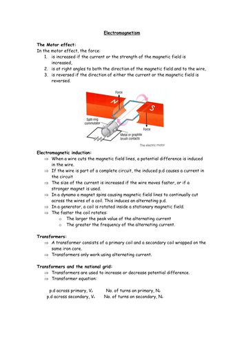 Physics GCSE - summary sheet for Y10/Y11 on electromagnetic induction