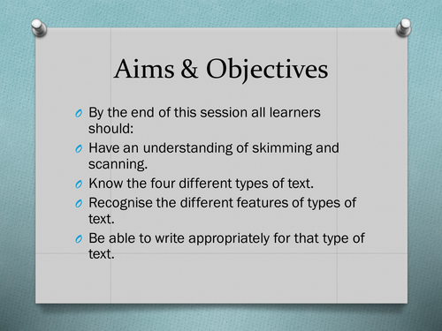 Functional Skills English - Types of Text