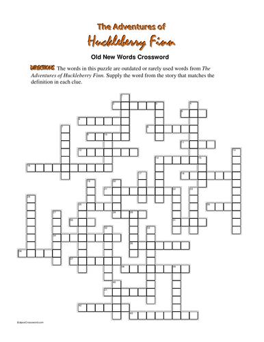 The Adventures of Huckleberry Finn: Simile Crossword