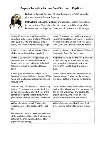 Bayeux Tapestry Card Sort Activity for 1066