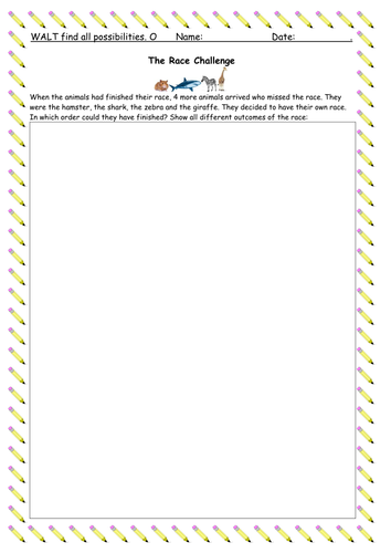 Finding All Possibilities - Problem Solving Activities - Using and Applying