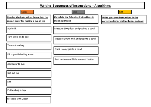 Writing sequences of instructions