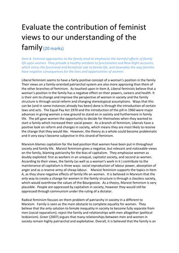 Feminist views of the family