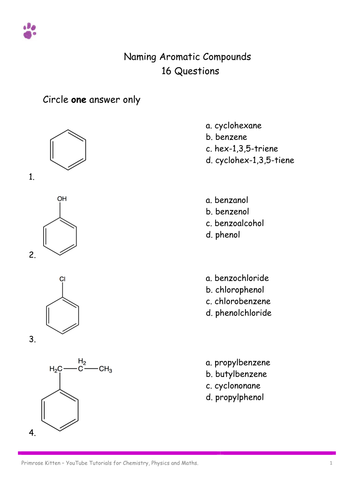 Naming Aromatic Compounds 16 Mcq By Pkscienceandmaths Teaching