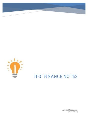 Finanace HSC Notes
