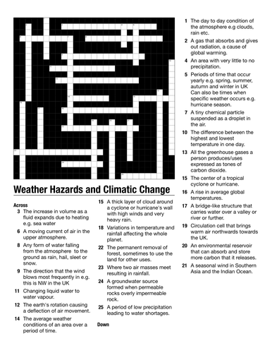 Edexcel  A GCSE 2016   Geography,  Weather Hazards and Climate Change whole topic crossword